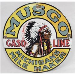 MUSGO MICHIGAN'S MILE MAKER GASOLINE PORCELAIN ADVERTISING SIGN