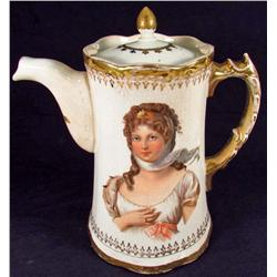 ANTIQUE / VICTORIAN ERA CHOCOLATE POT W/ LID AND BEAUTIFUL LADIES ON BOTH SIDES