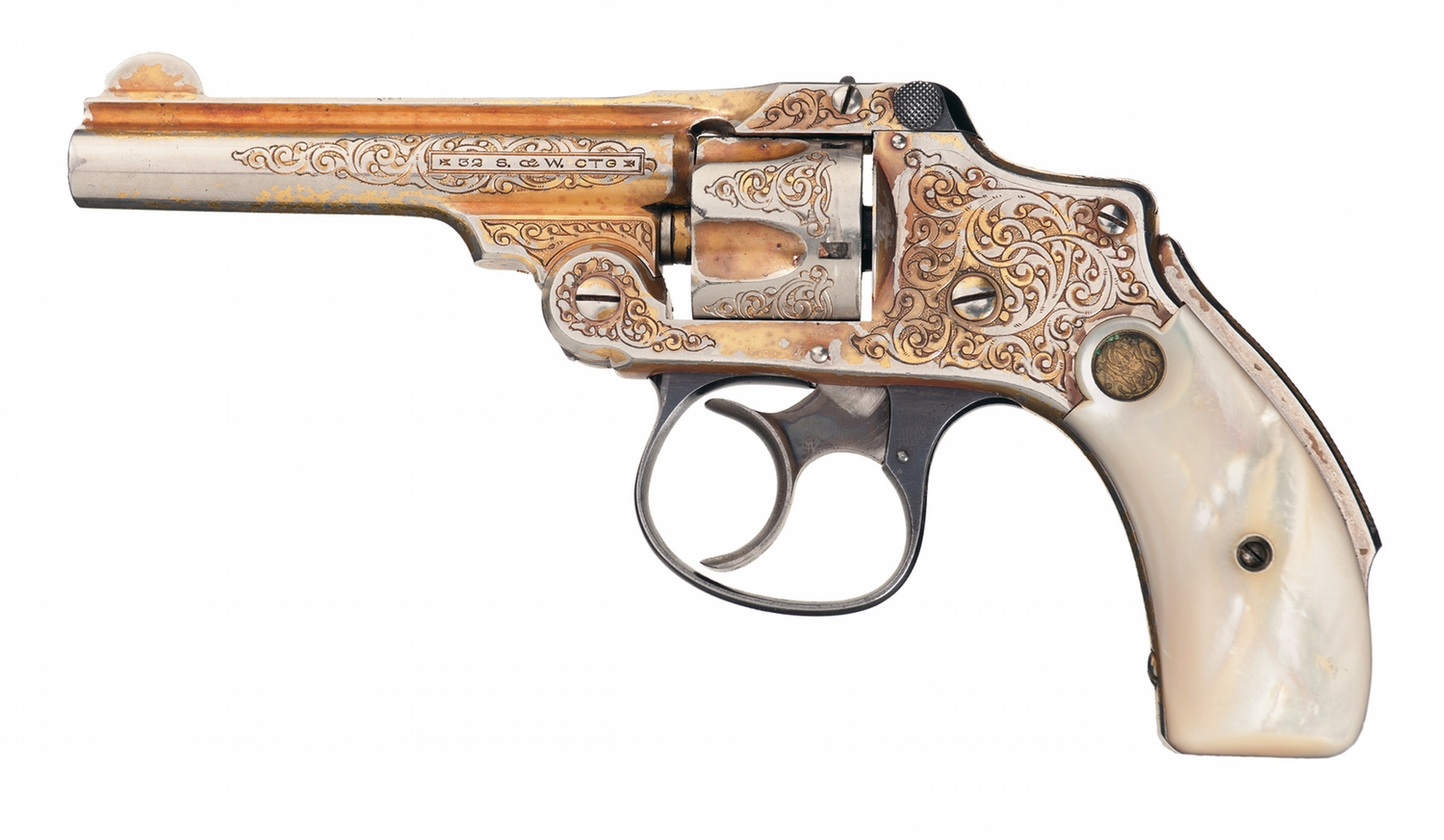 Engraved Gold Plated Smith & Wesson New Departure  32 Safety Hammerless  Revolver with Factory Pearl