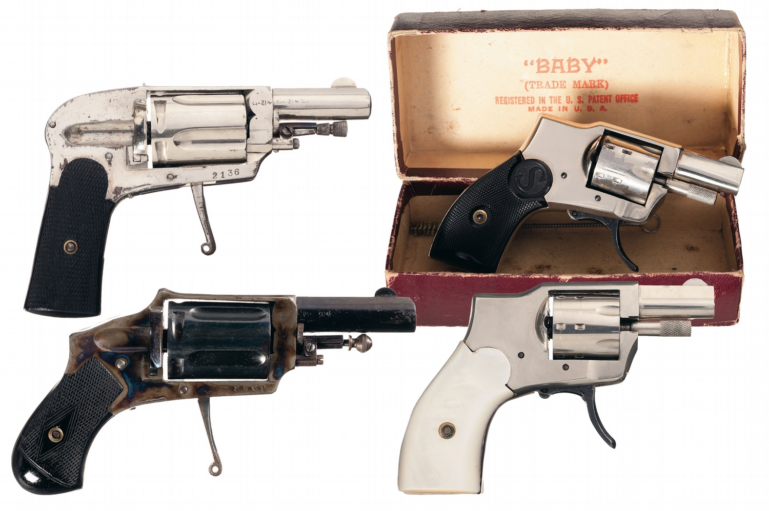Collector's Lot of Four Baby Hammerless Revolvers -A) Browning Baby  Hammerless Revolver