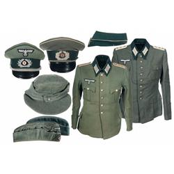 Grouping of Nazi Uniform Items, Including Officers Caps and Tunics