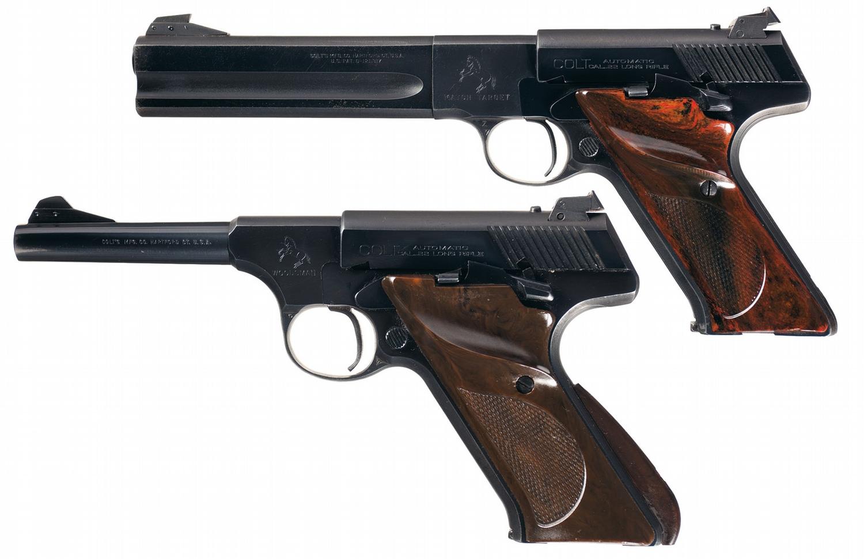 Two Colt Woodsman Semi-Automatic Pistols -A) Colt Second Series Match  Target Woodsman Pistol