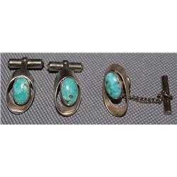PAIR OF CUFF LINKS AND TIE CLASP