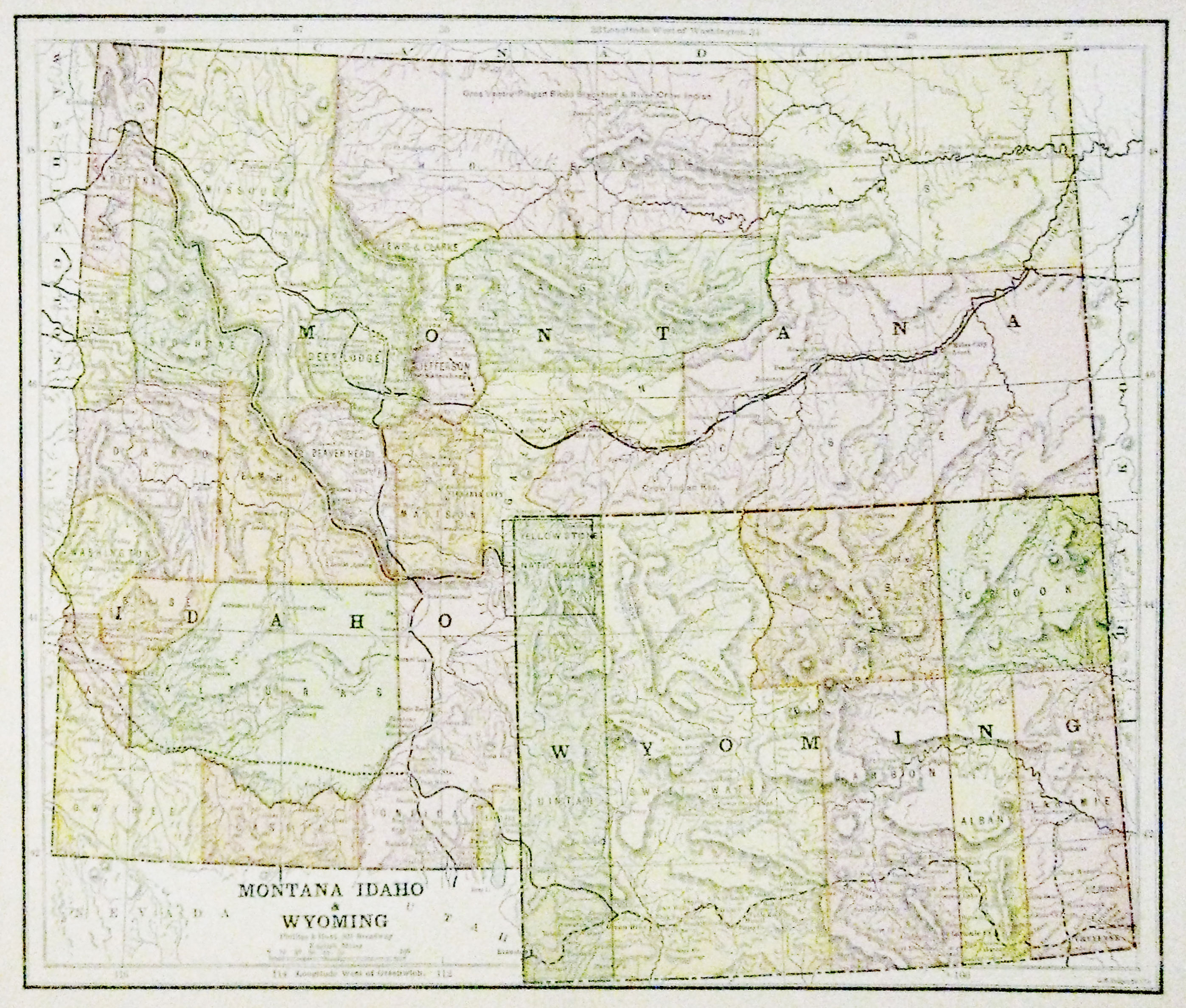 map of wyoming and idaho Map Of Montana Idaho Wyoming 1885 11 X 13 Multi Colored map of wyoming and idaho