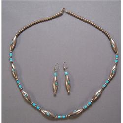 NAVAJO NECKLACE AND EARRINGS