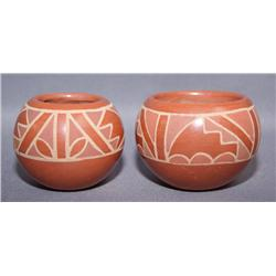 TWO SANTA CLARA POTTERY BOWLS
