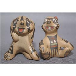TWO SANTA CLARA POTTERY ANIMALS