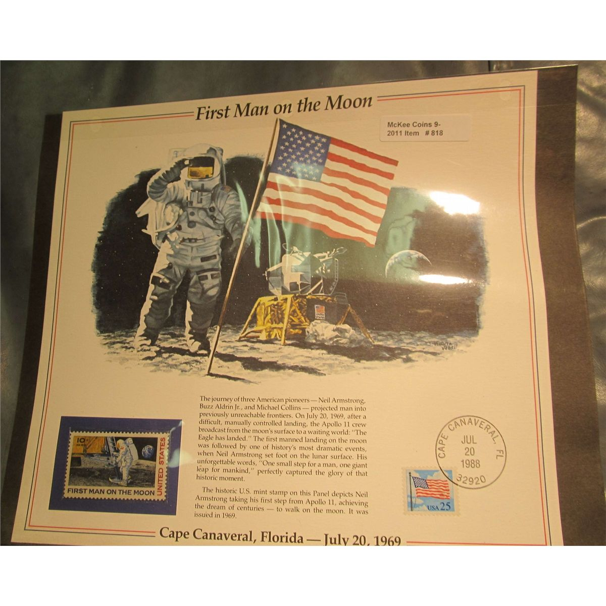 818  1988 First Man on the Moon Stamp and Panel