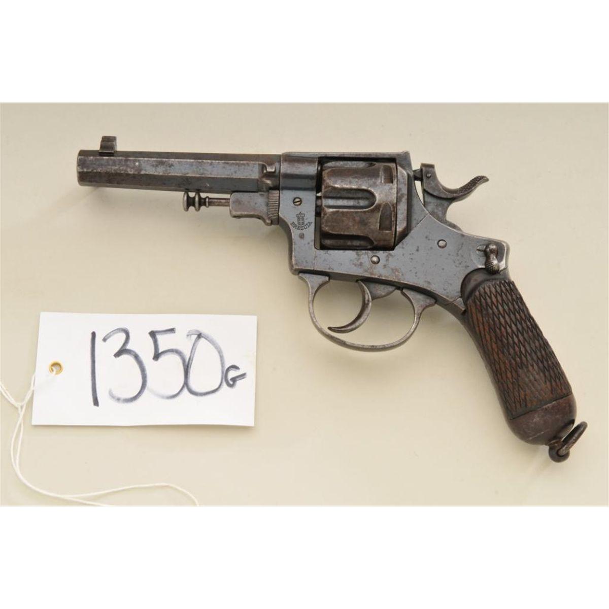 """cf22d787596b Italian Brescia DA revolver, 10.35mm cal., 4-1/2"""" octagon barrel, blue  finish, checkered wood grip"""