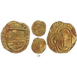 """Bogota, Colombia, cob 2 escudos, 1635A, from the """"Mesuno hoard"""" (ca. 1636)."""