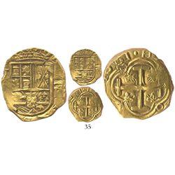 Bogota, Colombia, cob 2 escudos, 1661R, rare, unspecified salvage.