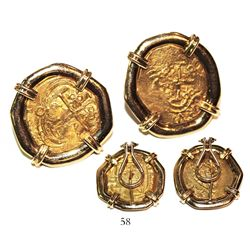 Pair of earrings made from two Bogota, Colombia, cob 2 escudos, posthumous Charles II, from the 1715