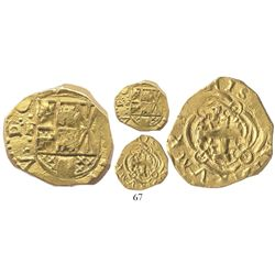 Bogota, Colombia, cob 2 escudos, Philip V, assayer S to right (1720s), no date in design.