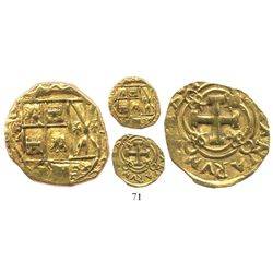 Bogota, Colombia, cob 2 escudos, Philip V, assayer not visible (S or M, 1720s-30s).