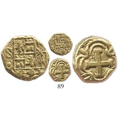Bogota, Colombia, cob 1 escudo, Ferdinand VI, assayer S to left, distinctive cross.