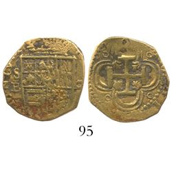 Seville, Spain, cob 2 escudos, Philip II, assayer B.