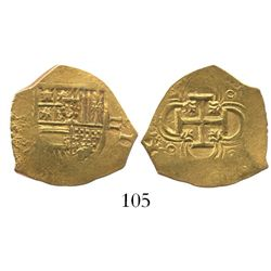 Seville Spain, cob 2 escudos, Philip III or IV, assayer not visible.
