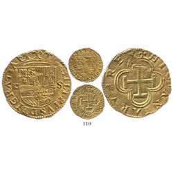 Seville, Spain, cob 1 escudo, Philip II, assayer Gothic D to left.