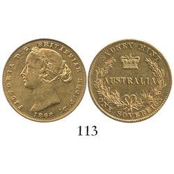 Sydney, Australia, sovereign, Victoria (young head), 1868.