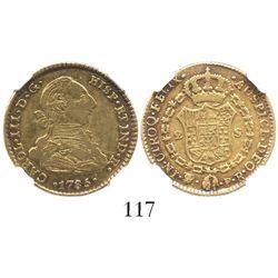 Potosi, Bolivia, bust 2 escudos, Charles III, 1785PR, encapsulated NGC XF 40.
