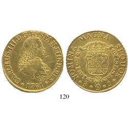 Santiago, Chile, bust 8 escudos, Charles III, 1761J.