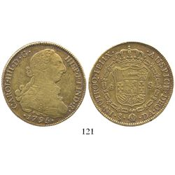 Santiago, Chile, bust 8 escudos, Charles IV (bust of Charles III), 1795DA.