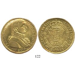 "Santiago, Chile, bust 8 escudos, Ferdinand VII (""admiral's bust""), 1809FJ."