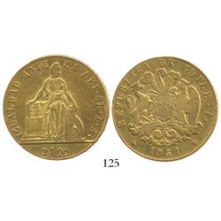 Santiago, Chile, 8 escudos, 1851LA.