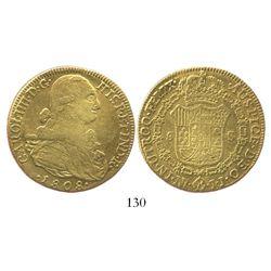 Bogota, Colombia, bust 8 escudos, Charles IV, 1808JJ.