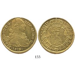 Popayan, Colombia, bust 8 escudos, Ferdinand VII (bust of Charles IV), 1819FM.