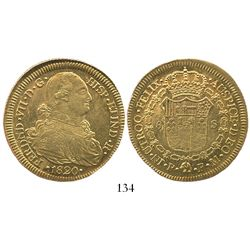 Popayan, Colombia, bust 8 escudos, Ferdinand VII (bust of Charles IV), 1820FM.