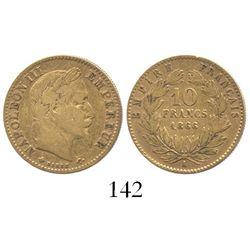 France (Paris mint), 10 francs, 1866-A.