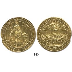 Bavaria, German States, 5 ducat, Maximilian I, 1640, date divided by Munich city view, very rare.