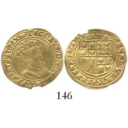 London, England, half crown (5 shillings), James I (5th bust), mintmark tun (1615-16).