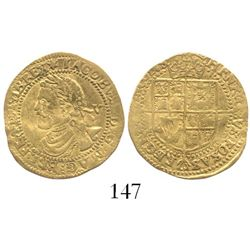 London, England, 1/4 laurel (5 shillings), James I (2nd bust), mintmark spur rowel (1619-20).