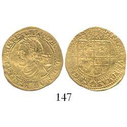 London, England, 1/4 laurel (5 shillings), James I (2nd bust), mintmark spur rowel (1619-20).