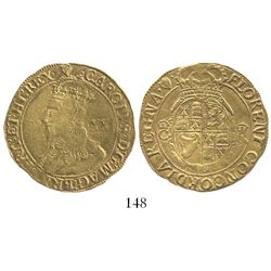 London, England, unite (20 shillings), Charles I (4th bust), mintmark harp (1632-33).