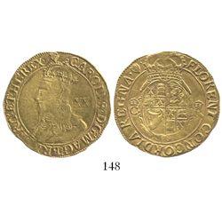 London, England, unite (20 shillings), Charles I (4th bust), mintmark harp (1632-33).