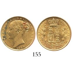 London, England, sovereign, Victoria (young head), 1864, die 26, from the General Abbatucci (1869).