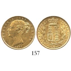 London, England, sovereign, Victoria (young head), 1869, die 54, from the Douro (1882).