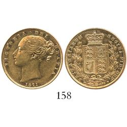 London, England, sovereign, Victoria (young head), 1871, die 72, from the Douro (1882).