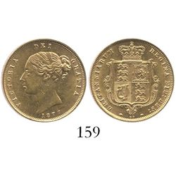 London, England, 1/2 sovereign, Victoria (young head), 1877, die 97.