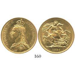 London, England, 2 pounds, Victoria, 1887.