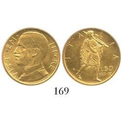 Italy (Kingdom), 50 lire, Vittorio Emanuele I, 1931, year IX, Rome mint.