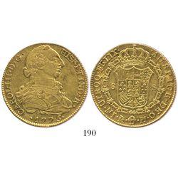 Madrid, Spain, bust 8 escudos, Charles III, 1775PJ.