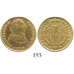 Madrid, Spain, bust 2 escudos, Charles III, 1776PJ.