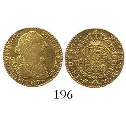 Madrid, Spain, bust 1 escudo, Charles II, 1787DV.