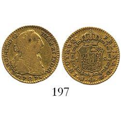 Madrid, Spain, bust 1 escudo, Charles III, 1787DV.
