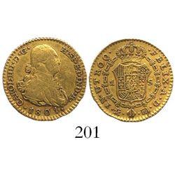 Madrid, Spain, bust 1 escudo, Charles IV, 1801FA.