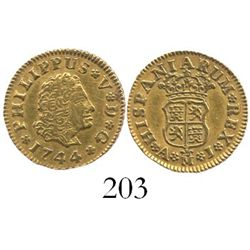 Madrid, Spain, bust 1/2 escudo, Philip V, 1744AJ.